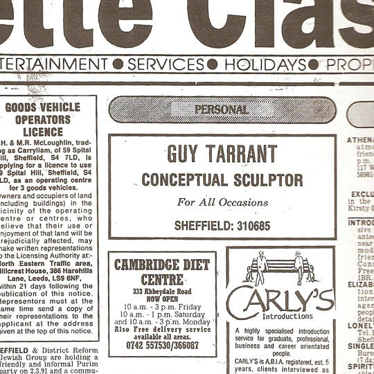 The Gazette Classified Ad - 1991