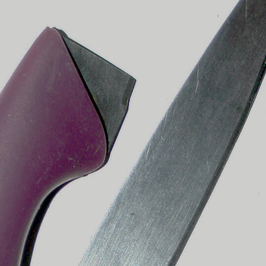 Close-up of self harm weapon
