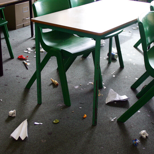 Many classrooms may look very untidy at the end of the day