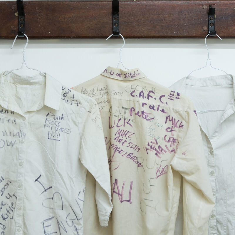 A collection of school leaving shirts donated by ex-pupils